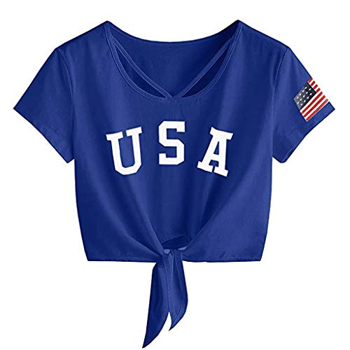 - 4th of July Shirts for Women Short Sleeve Tops Cross Scoop Neck T-Shirt Knot Front Lumbar American Flag Tees Blouses Blue