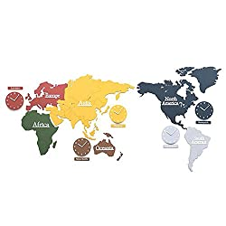 DIY world map wall clock personality modern frameless wall background office clock ( Size : 220115cm )