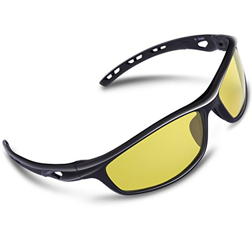 RIVBOS Polarized Sports Sunglasses Driving Sun Glasses for Men Women Tr 90 Unbreakable Frame for Cycling Baseball Running Rb833 (Black Night Version - Glass Sun