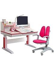 Best4Kids Electric Ergonomic Kids Desk and Chair Set, Electric Desk, Children Study Table Height Adjustable Kids Desk Ergonomic Design Writing Desk Tilt Desktop Storage Drawer Bookstand (Manual (NOT Electric)-Pink)