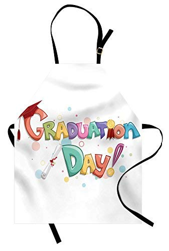 Lunarable Graduation Apron, Cute Celebration Quote with Colorful Circles Diploma Ceremony Style Illustration, Unisex Kitchen Bib Apron with Adjustable Neck for Cooking Baking Gardening, -