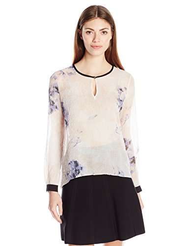 Ellen Tracy Women's Keyhole Flared Blouse, Dream Pixel Petal, Medium