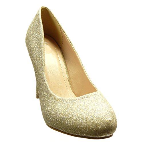 Angkorly - Scarpe da Moda scarpe decollete stiletto sexy da sera donna paillette lucide Tacco Stiletto tacco alto 10 CM - Oro