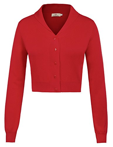 Cotton Cropped Blazer - GRACE KARIN Women's Bolero Shrug Long Sleeve Crop Tops CL1015-2 S