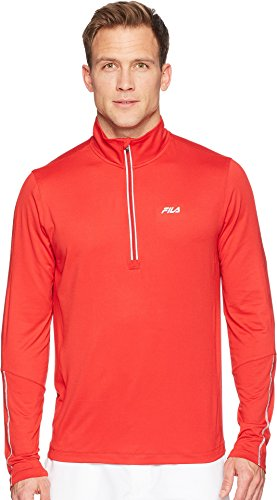 (Fila Men's Cutters Mock Neck Top Chinese Red/Chinese Red/Silver Foil X-Large )
