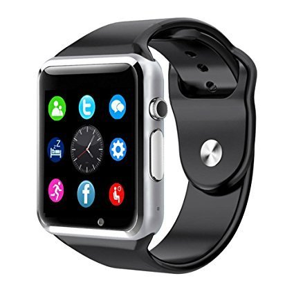 Amoji A1 Bluetooth Smart Watch for Smart Phones iPhone Samsung, iOS, Android, Support Memory and SIM Card