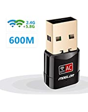 Moglor Clé Wifi Dongle Adaptateur USB sans fil Mini Double Bande 600Mbps (2.4G/150Mbps + 5G/433Mbps) Compatible avec Windows XP/VISTA/7/8/8.1/10 Linux Mac OS (Mini 600Mbps)