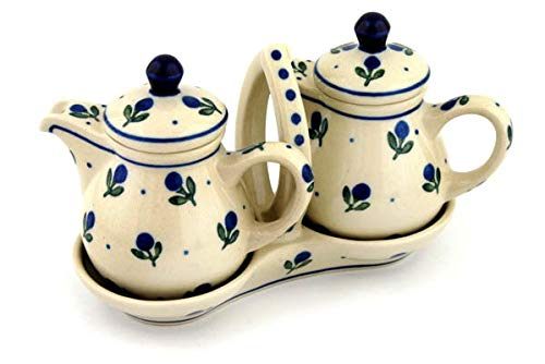 Polish Pottery 5¾-inch Seasoning Set made by Ceramika Artystyczna (Blue Buds Theme) + Certificate of Authenticity by Polmedia Polish Pottery (Image #2)