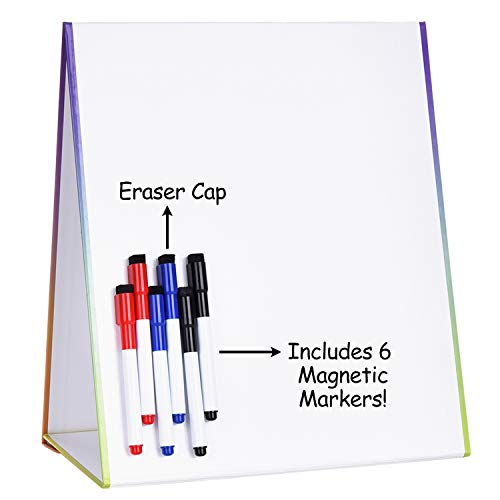 Browill Dry Erase White Board[2 Side and Magnetic], Drawing Easel Board with 6 Dry Erase Markers with Erasers, Small Whiteboard
