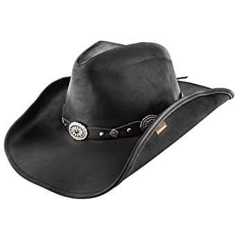 Stetson Roxbury Black Distressed Shapeable Leather Cowboy Western Hat -  Small 747cfb752c4