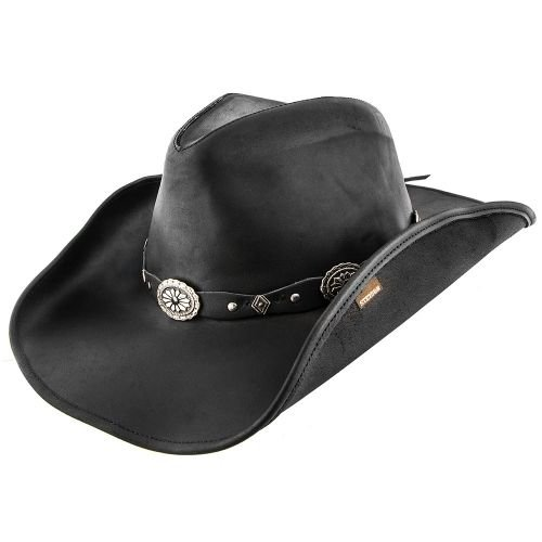(Stetson Large Black Roxbury Shapeable Leather Western Hat)