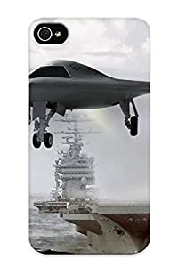 Design For Iphone 4/4s Premium Tpu Case Cover Uav X47b Carrier Ships Boats Vehicles Military Jet Fighter Ocean Sea Sky Clouds Waves Protective Case