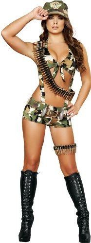 Seductive Costumes (Roma Costume 6 Piece Seductive Soldier Costume, Camouflage, Small/Medium)