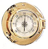 5.5''Dia Round Solid Brass Porthole Thermometer with Lacquer Coating - Wall Mount Decoration