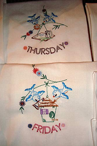 Days of the Week flour sack dish towels, tea towels, bluebirds