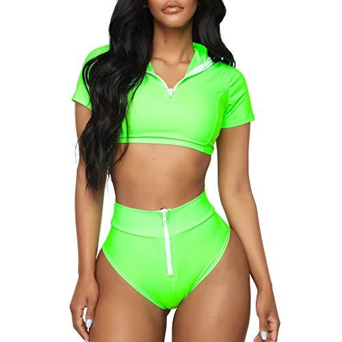 Kehen Women Sport Zipper Front Crop Top High Cut Sporty 2pcs Bikini Set Swimsuit Green Small (Cup:A-B)