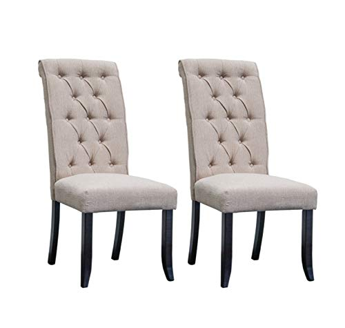 Best Master Furniture Y778 Manhattan Taupe Dining Chairs, Set of 2 (Taupe Chairs Dining)