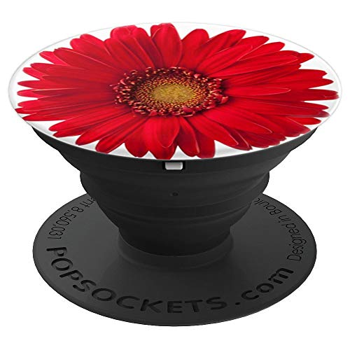 Cute Red Daisy Flower on a White Popsocket - PopSockets Grip and Stand for Phones and Tablets