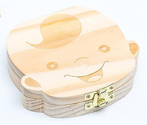 Wood Boy Shape Baby Teeth Box English Version 1Pc by fly-dent (Image #6)