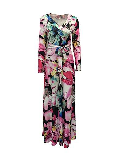 Neue Plus Größe Multi Farbe Floral Print V-Ausschnitt Maxi Kleid Party Sommer tragen Kleid Casual Wear Größe M UK 10�?2EU 38�?0