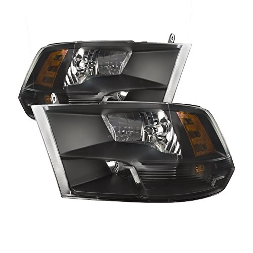 PERDE Black Housing Halogen Headlights W/Quad option Compatible with Dodge Ram 1500 2500 3500 Ram Includes Left Driver and Right Passenger Side Headlamps W/Quad
