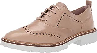 ECCO Women's Incise Tailored Wing Tip Oxford Flat, Dune, 36 M EU (5-5.5 US)