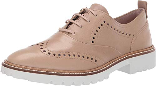 ECCO Women's Incise Tailored Wing Tip Oxford Flat, Dune, 37 M EU (6-6.5 US) from ECCO