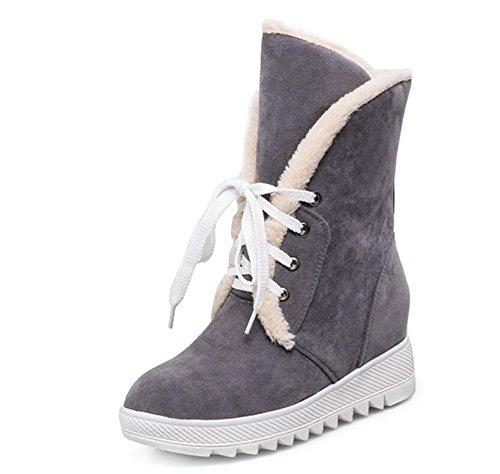 Las botas calientes de la felpa de las mujeres dentro de realzan las altas botas botas cortas de la nieve del tubo , gray , 40