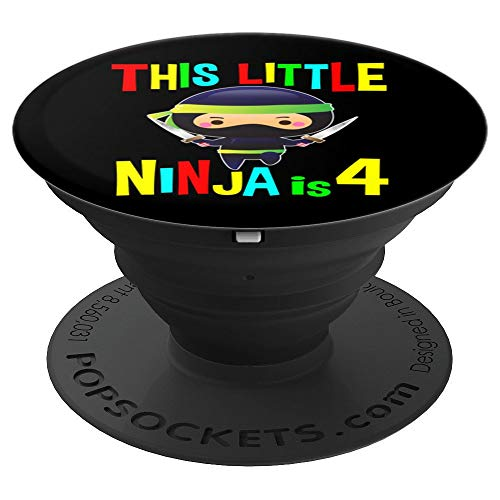 Birthday Ninja Gifts 4 Year Old Party Theme Costume I'm Four PopSockets Grip and Stand for Phones and Tablets -