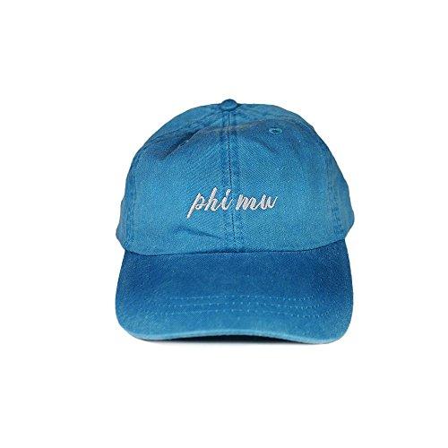 Desert Cactus Phi Mu (N) Sorority Baseball Hat Cap Cursive Name Font (Bright Blue) - Phi Mu Fraternity