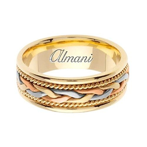 7mm 14k Tri Color Band - Almani 14k Gold 7mm Handmade Tri Color Wedding Ring 084 - Size 11