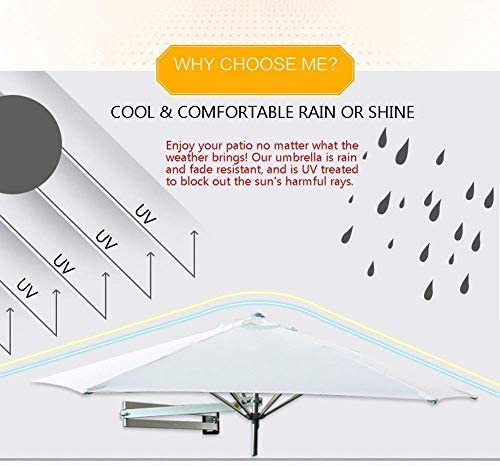 パラソル2.1M壁に取り付けられたスクエアパティオの傘、金属製の柱、日よけ、UV防止の傘(屋外ガーデンバルコニー用)(色:緑)