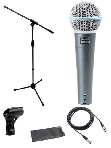 Shure Beta 58a Microphone Bundle with Mic Boom Stand and XLR Cable by Shure