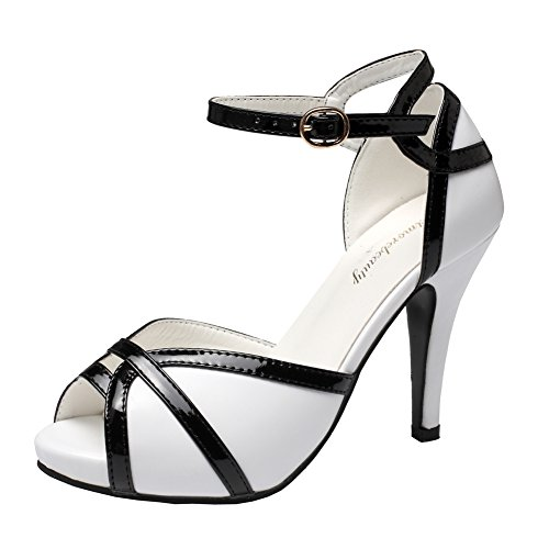 Getmorebeauty Women's Vintage White and Black Peep Toes Buckle Dress Heeled Sandals 7 B(M) US (White Shoes Vintage)