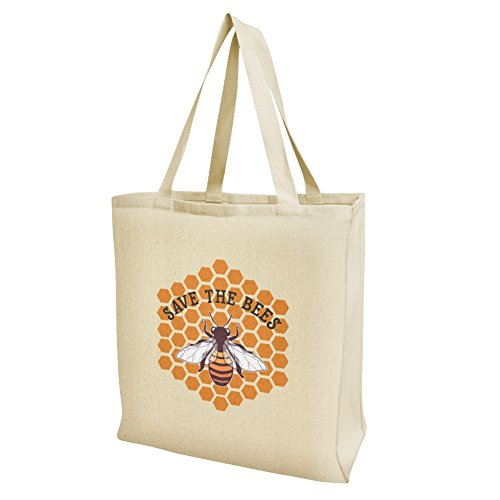 (Save The Bees Honey Grocery Travel Reusable Tote Bag - Large)