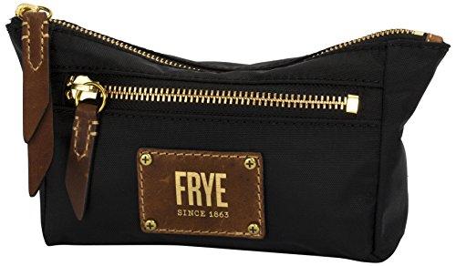 Black Leather Logo Pouch (FRYE Ivy Nylon Cosmetic Zip Pouch, Black)