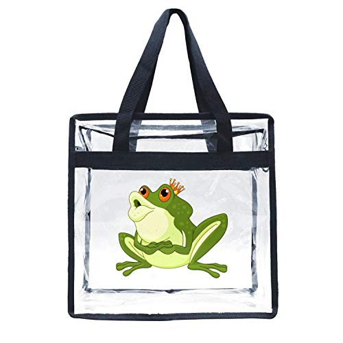 - Eoyles gy Clear Bag Stadium Approved 12 x 6 x 12 Crossbody Transparent Purse Shoulder Handbag for Men Women Funny Green Prince Frog with Crown kiss Zippered Security Bag