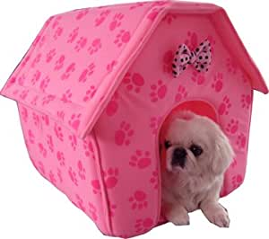 Amazon.com : New Pink Paw Prints Collapsible Pet Dog Puppy