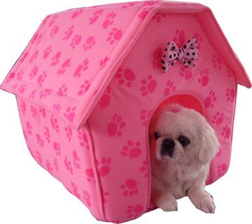 New Pink Paw Prints Collapsible Pet Dog Puppy Cat Kitten Bed Shelter House -Medium, My Pet Supplies