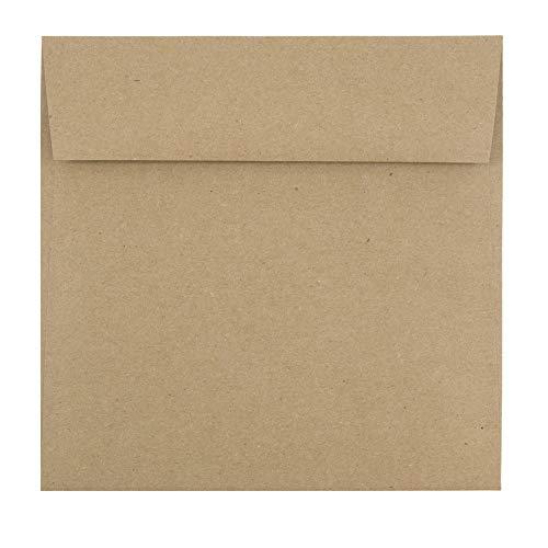 JAM PAPER 6 1/2 x 6 1/2 Premium Invitation Envelopes - Brown Kraft Paper Bag - 50/Pack