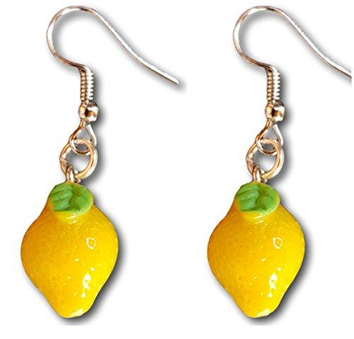 (Vegetable and Fruits Resin Dangle Charm Dangle Earrings by Pashal (Lemons))