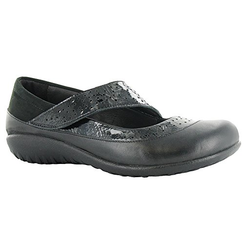 Naot Aroha Koru Women Flats Shoes, Black Patent/Glass Silver Comb,Size - 41 by NAOT