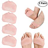 2 Pairs Breathable Gel Metatarsal Pads Soft Ball of Foot Cushions for Rapid Pain Relief, Prevent Callus and Blisters for Men and Women (Pink)