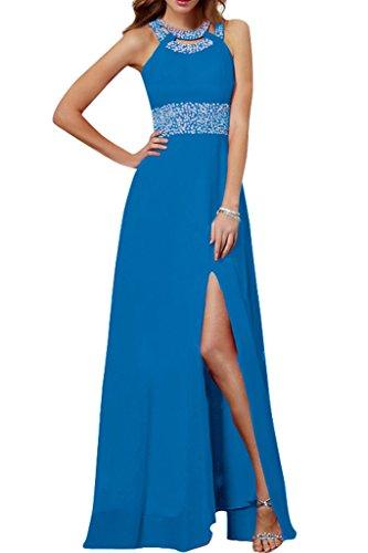 Stilvoll Steine A Chiffon Ivydressing Linie Blau Abendkleid Schlitz Damen Lang Festkleid Promkleid Z5twHqI