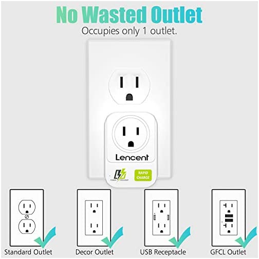 USB Wall Charger, LENCENT Wall Adapter with AC Outlet and 3 USB Ports, Cube Power Strip Extender Plug Expander with… |
