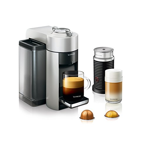 Nespresso by De'Longhi ENV135SAE Vertuo Evoluo Coffee and Espresso Machine Bundle with Aeroccino Milk Frother, Silver