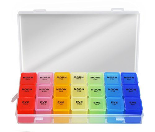 Pill Organizer Box Weekly Case, Medicine Organizer, Vitamin Organizer, Rainbow Reminder Daily Am PM, Day Night Compartments 7 days (Large Size)