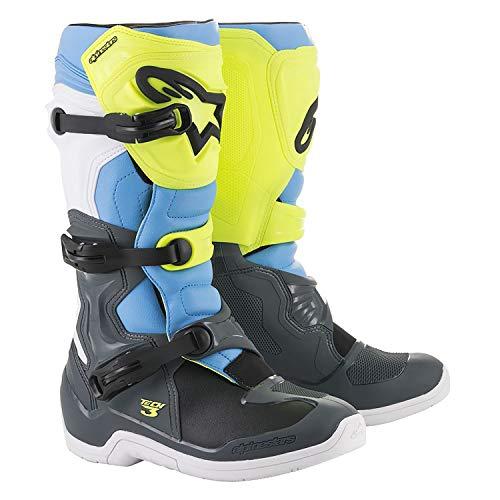 Alpinestars Tech-3 Boots (9) (COOL GREY/FLO YELLOW/CYAN)