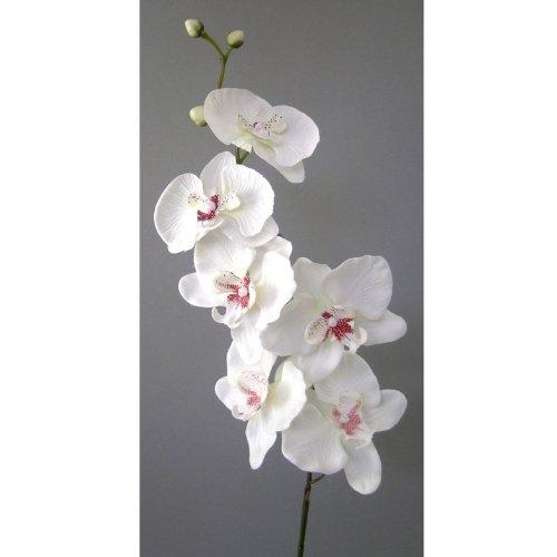 Kunstblume Orchideenzweig 78cm. Farbe WEISS-40