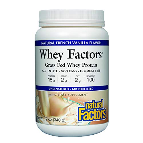 Whey Factors by Natural Factors, Grass Fed Whey Protein Concentrate, Supports Muscle Development and Immune Health, French Vanilla, 2 lbs (41 servings) (Best All Natural Protein)